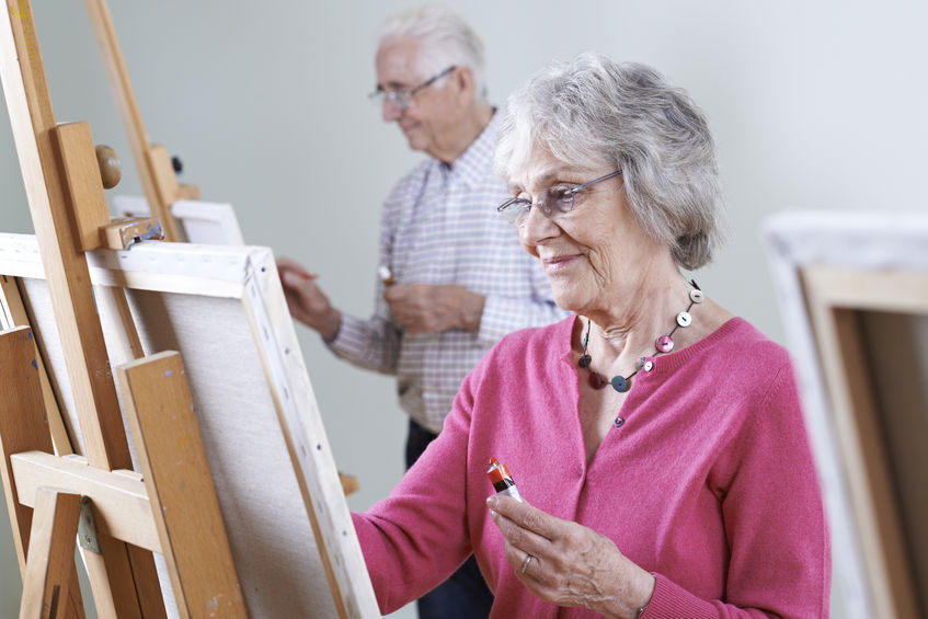 Wisdom Project Australia Seniors Attending Painting Class Together